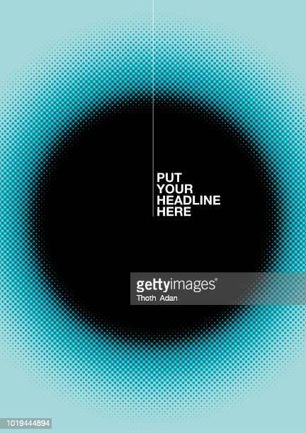 cover-vorlage mit unscharfen, schwarzen kreis (neon-halbton-set) - vertikal stock-grafiken, -clipart, -cartoons und -symbole