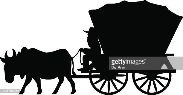 covered wagon - horsedrawn stock illustrations, clip art, cartoons, & icons