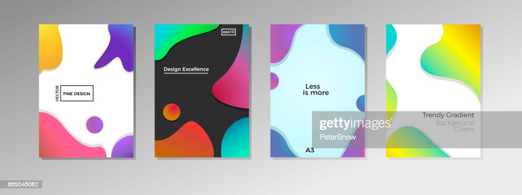 4 covers with fluid shapes and colors. Trendy fine design backgrounds with liquid bubbles in vector format