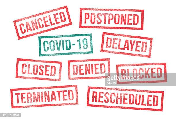 covid 19 rubber stamps canceled postponed delayed closed - travel ban stock illustrations