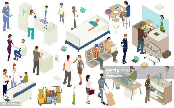 covid pandemic illustration stickersheet - mathisworks healthcare stock illustrations