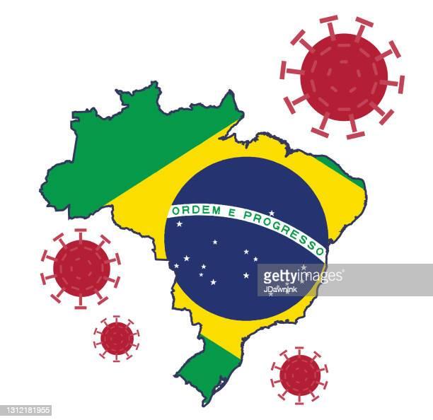 covid-19 brazil variant of the virus mutation - b117 covid 19 variant stock illustrations