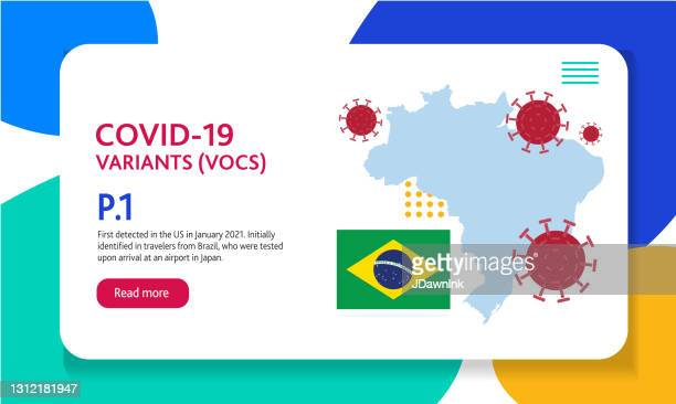 covid-19 brazil variant web banner design template with placement text and origin countries of the virus mutation - b117 covid 19 variant stock illustrations