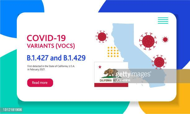 covid-19 california variant web banner design template with placement text and origin countries of the virus mutation - b117 covid 19 variant stock illustrations