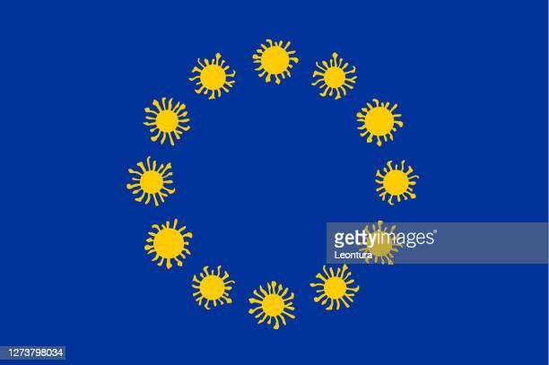 illustrations, cliparts, dessins animés et icônes de drapeau de l'ue covide-19 - brexit