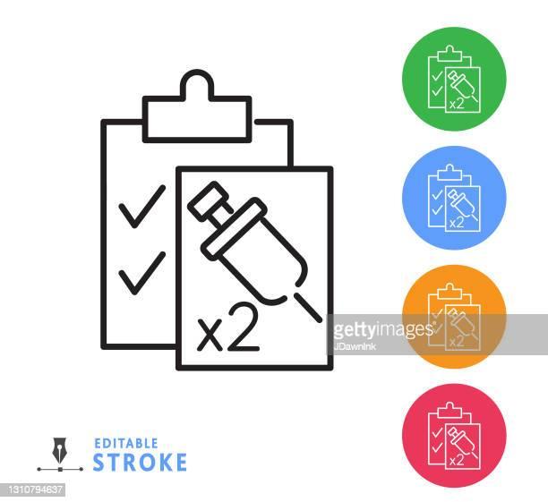 covid-19 flu virus vaccination two dose checklist thin line icon - editable stroke - dose stock illustrations