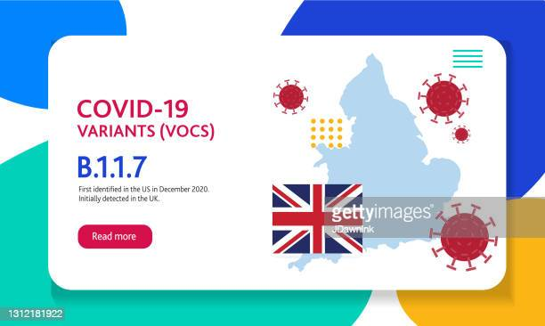 covid-19 uk variant web banner design template with placement text and origin countries of the virus mutation - b117 covid 19 variant stock illustrations