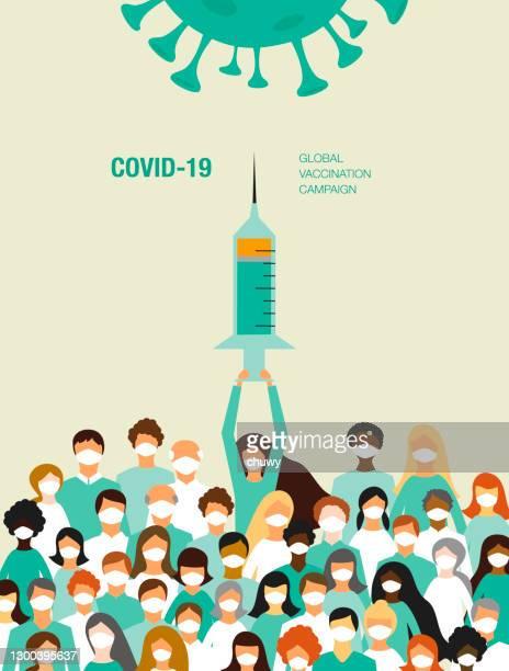 ilustraciones, imágenes clip art, dibujos animados e iconos de stock de campaña de vacunación covid-19 - chuwy