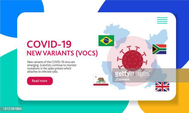 covid-19 variant web banner design template with placement text and origin countries of the virus mutation - b117 covid 19 variant stock illustrations