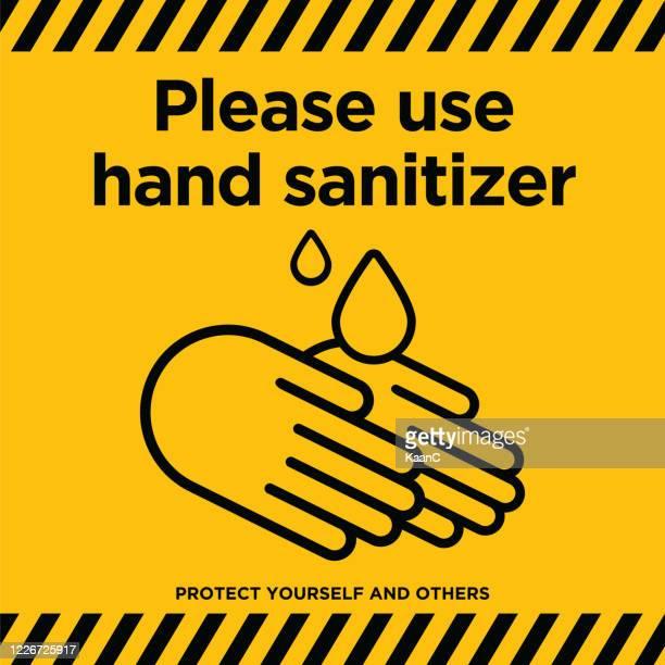 covid-19警告サイン。手指消毒剤をご使用ください。中国小説コロナウイルス病のコンセプトデザインストックイラスト。covid-19 ベクトルテンプレート - 手指消毒剤点のイラスト素材/クリップアート素材/マンガ素材/アイコン素材