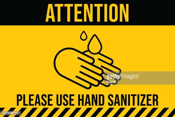 covid-19 warning sign. please use hand sanitizer. china novel coronavirus disease concept design stock illustration. covid-19 vector template - illness prevention stock illustrations