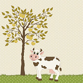 Cow and apple tree