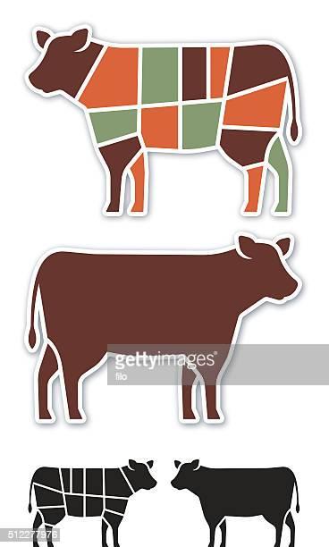 ilustraciones, imágenes clip art, dibujos animados e iconos de stock de cortes de carne de vaca - cortar