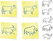 cow buffalo and bison on post it notes