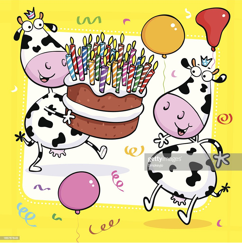 Outstanding Cow Cake Party High Res Vector Graphic Getty Images Birthday Cards Printable Riciscafe Filternl