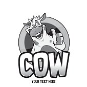 Cow character illustration black and white design