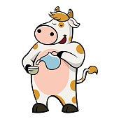 cow drinking milk.