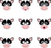 Cow emotion faces icon set vector