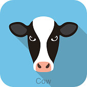 cow face flat icon design, vector illustration