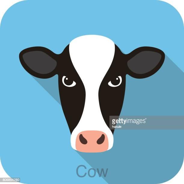 illustrations, cliparts, dessins animés et icônes de vache visage plat icône design, illustration vectorielle - vache