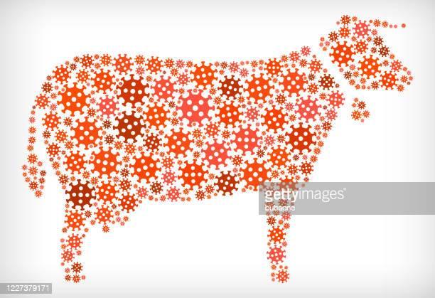 牛インフルエンザコロナウイルスアイコンパターン - 牛肉点のイラスト素材/クリップアート素材/マンガ素材/アイコン素材