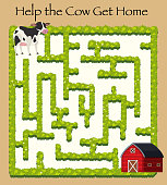 Cow going home maze game