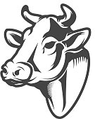 Cow head icon isolated on white background. Design elements for label, emblem, sign. Vector illustration