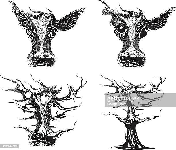 cow head morphing into tree - stretched image stock illustrations, clip art, cartoons, & icons