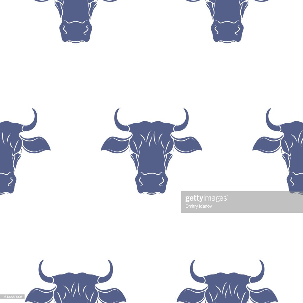 Cow Head Seamless Pattern. Vector
