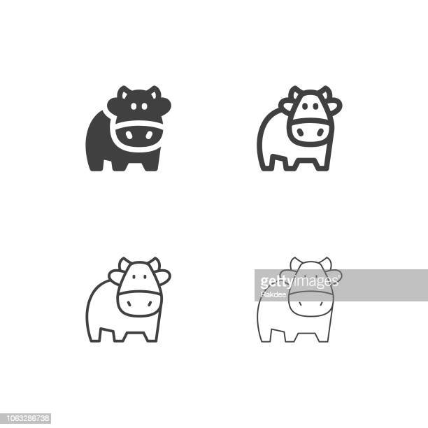 cow icons - multi series - cow stock illustrations