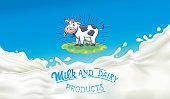 Cow in artoon style and splashes milk