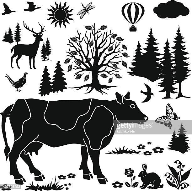 cow in the country design elements