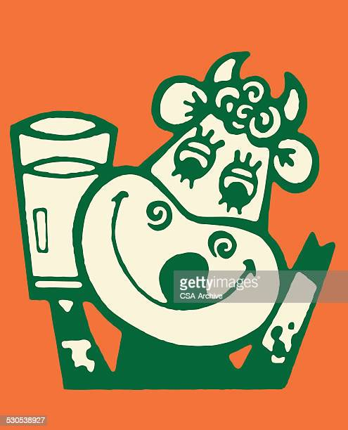 cow licking lips and drinking milk - licking stock illustrations, clip art, cartoons, & icons