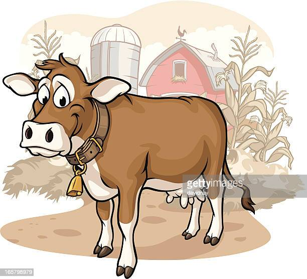 cow on the farm - cow stock illustrations