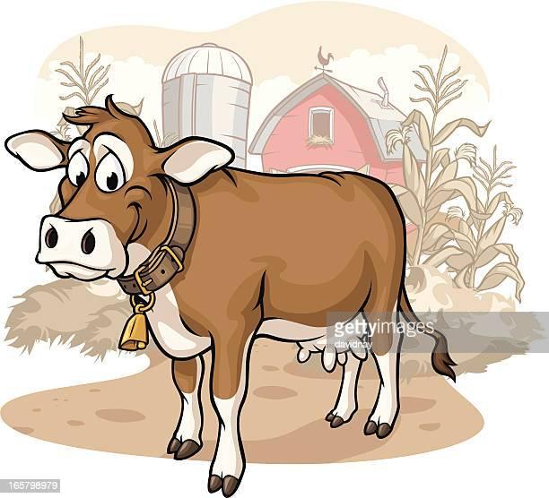 ilustraciones, imágenes clip art, dibujos animados e iconos de stock de vaca en la granja - vacas