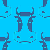 Cow seamless pattern. Head of bull pattern. beef texture
