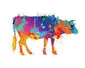 cow silhouette of splash paint