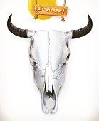 Cow skull. Western adventure. 3d vector icon