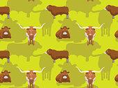 Cow Texas Longhorn Limousin Cartoon Seamless Wallpaper
