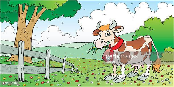 cow - paddock stock illustrations, clip art, cartoons, & icons
