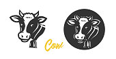 Cow. Vector illustration.