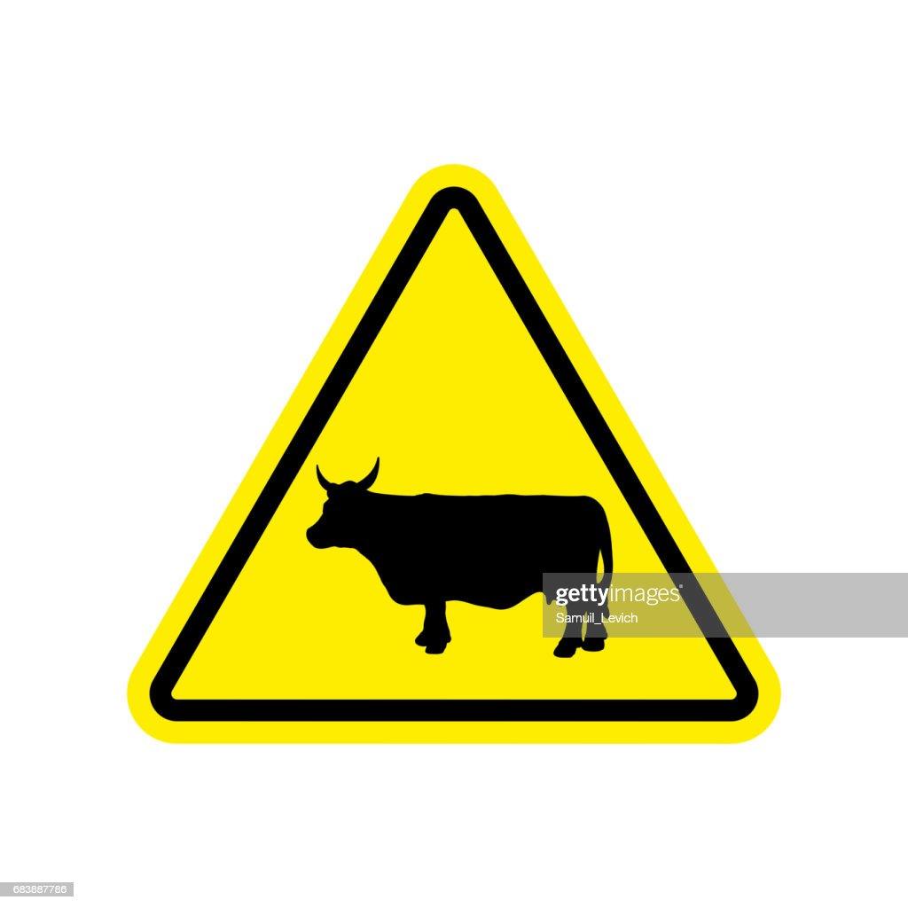 Cow Warning Sign Yellow Farm Hazard Attention Symbol Danger Road