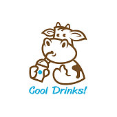 cow with a drinks