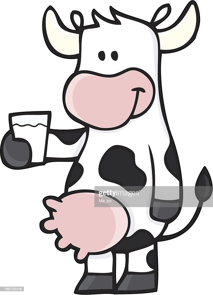 Cow with a glas of milk