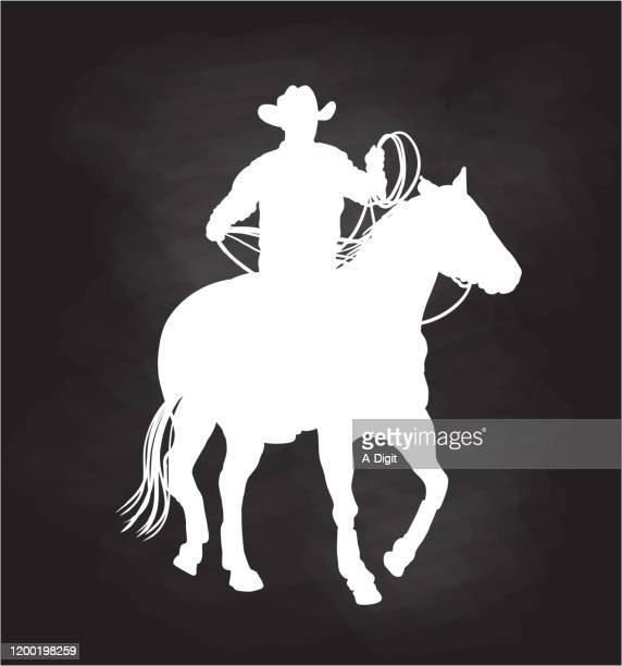 cowboy action silhouette chalkboard - sombrero stock illustrations