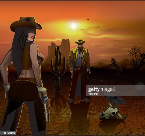 Cowboy and Cowgirl duel