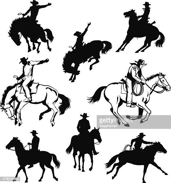 cowboy and horse - drawings and silhouettes - cowboy stock illustrations, clip art, cartoons, & icons