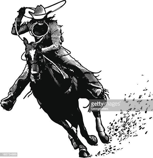 cowboy and lasso engraving - cowboy stock illustrations, clip art, cartoons, & icons