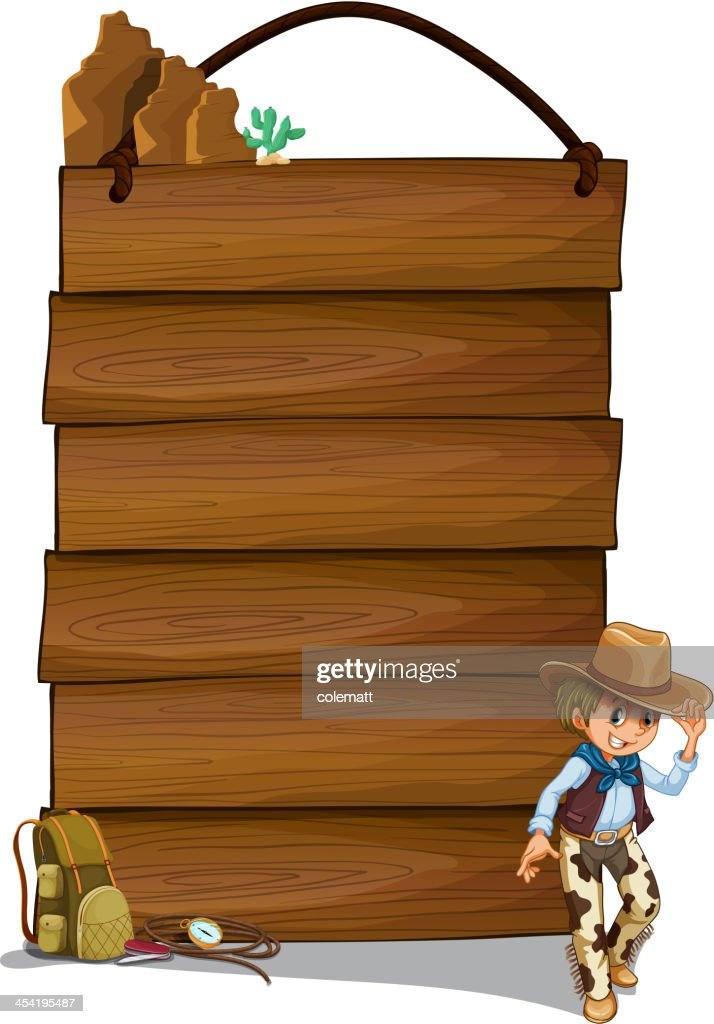 Cowboy and the empty wooden signboards : Vector Art