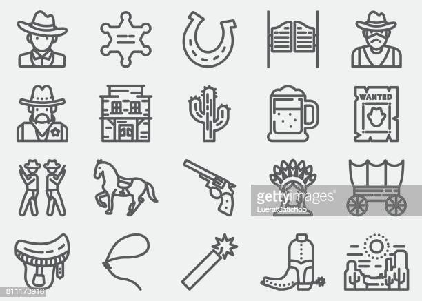 Cowboy And Wild west Line Icons